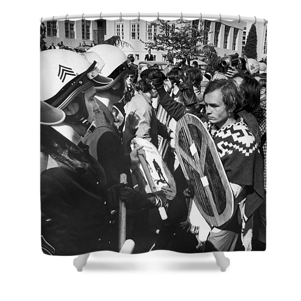 Sixties Protest Face Off Shower Curtain