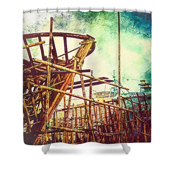 Skeletons In The Yard - Boatbuilding In Ecuador Shower Curtain