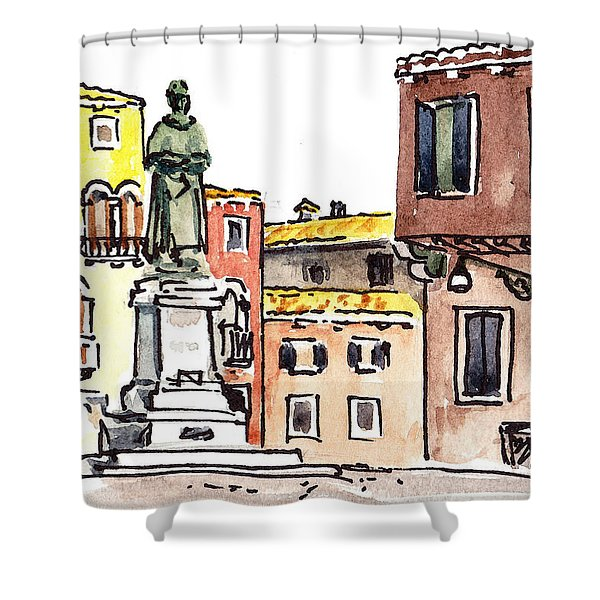 Sketching Italy Venetian Piazza Shower Curtain