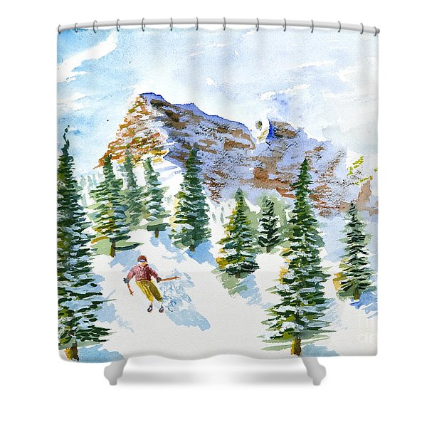 Skier In The Trees Shower Curtain