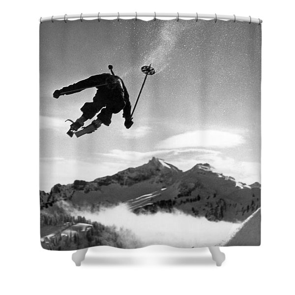 Skiing Over Mt. Ranier Shower Curtain