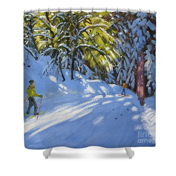 Skiing Through The Woods  La Clusaz Shower Curtain