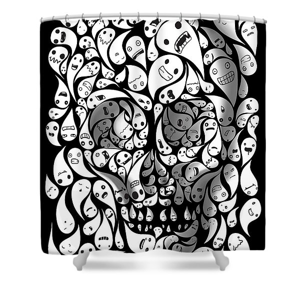 Shower Curtain featuring the painting Skull Doodle by Sassan Filsoof