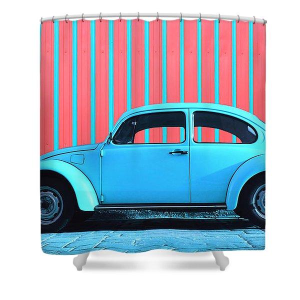 Sky Blue Bug Shower Curtain