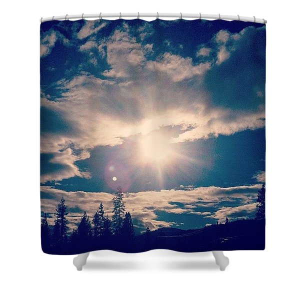 #sky #clouds #nature #trees #california Shower Curtain