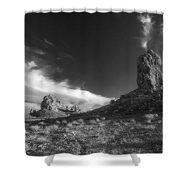 Sky Masters - Trona Pinnacles - Black And White Shower Curtain