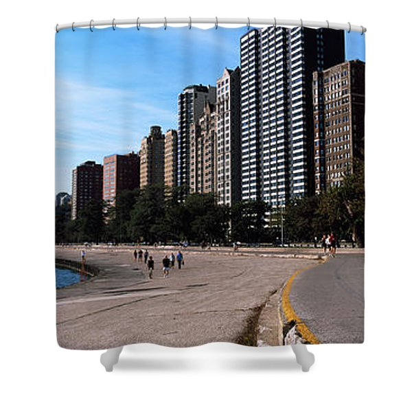 Skyscrapers At The Waterfront, Oak Shower Curtain