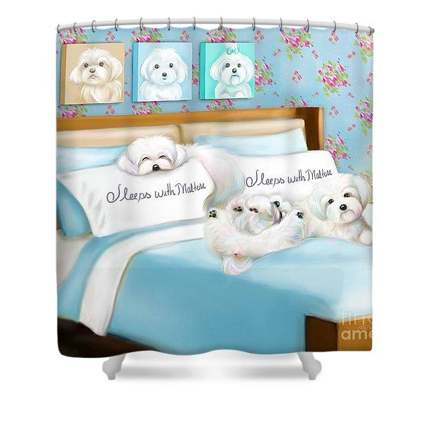 Sleeps With Maltese Shower Curtain