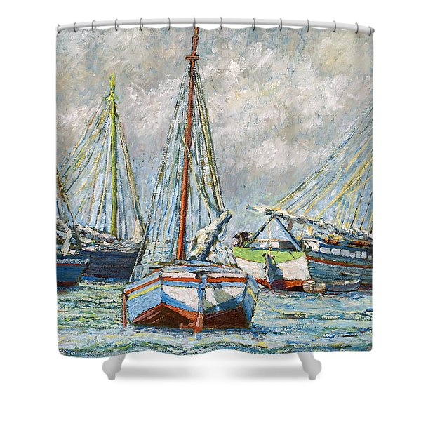 Sloops At Rest Shower Curtain