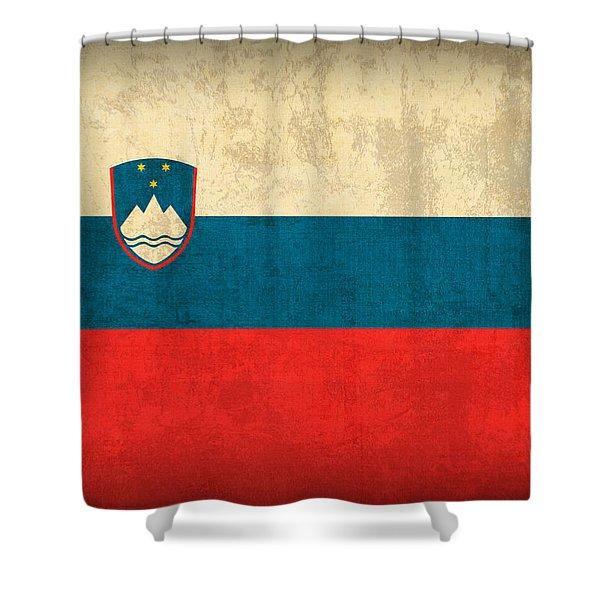 Slovenia Flag Vintage Distressed Finish Shower Curtain