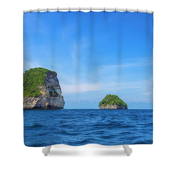 Small Stone Island Near Nusa Penida Shower Curtain