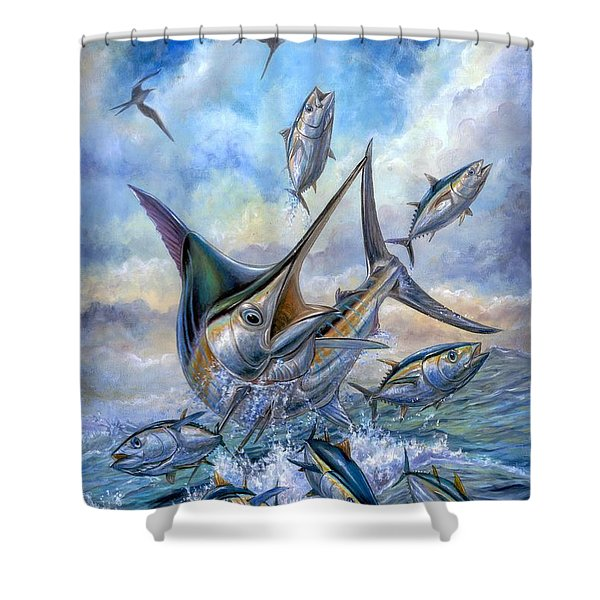 Small Tuna And Blue Marlin Jumping Shower Curtain