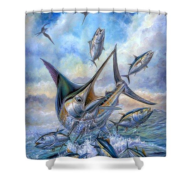 Small Tuna And Blue Marlin Jumping Shower Curtain