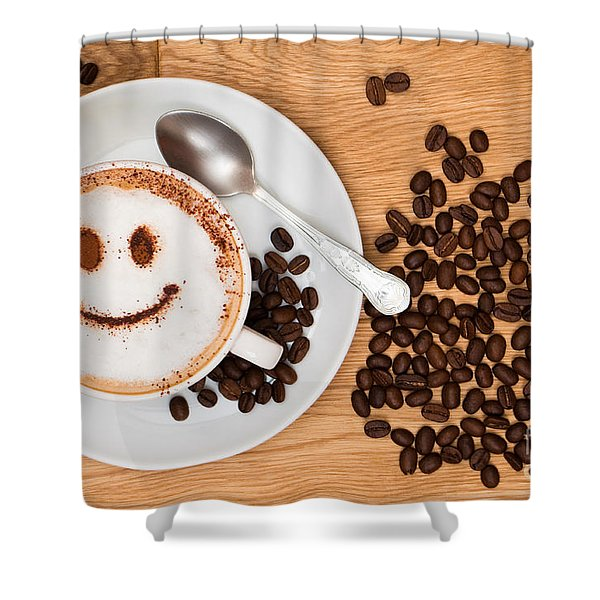 Smiley Face Coffee Shower Curtain