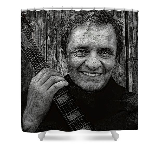 Smiling Johnny Cash Shower Curtain