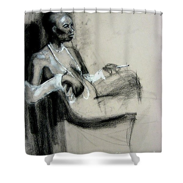 Shower Curtain featuring the drawing Smoking by Gabrielle Wilson-Sealy