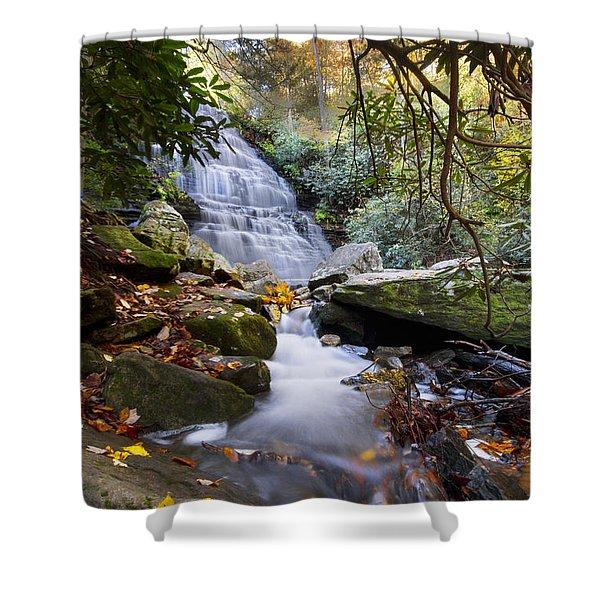 Smoky Mountain Waterfall Shower Curtain