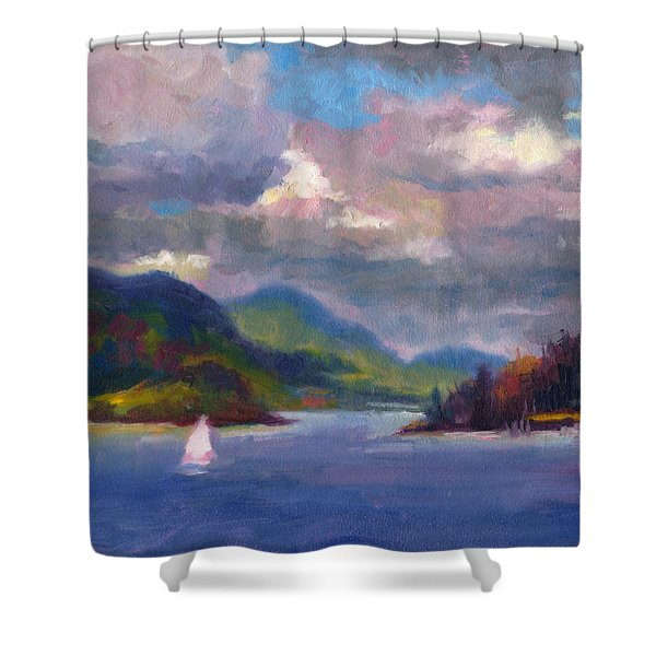 Smooth Sailing Sailboat On Alaska Inside Passage Shower Curtain