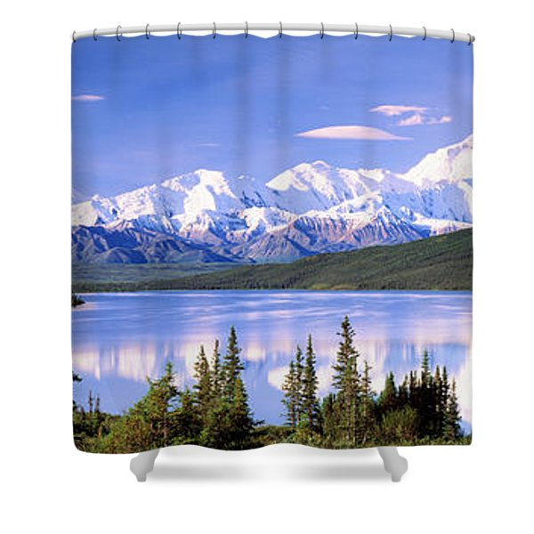 Snow Covered Mountains, Mountain Range Shower Curtain