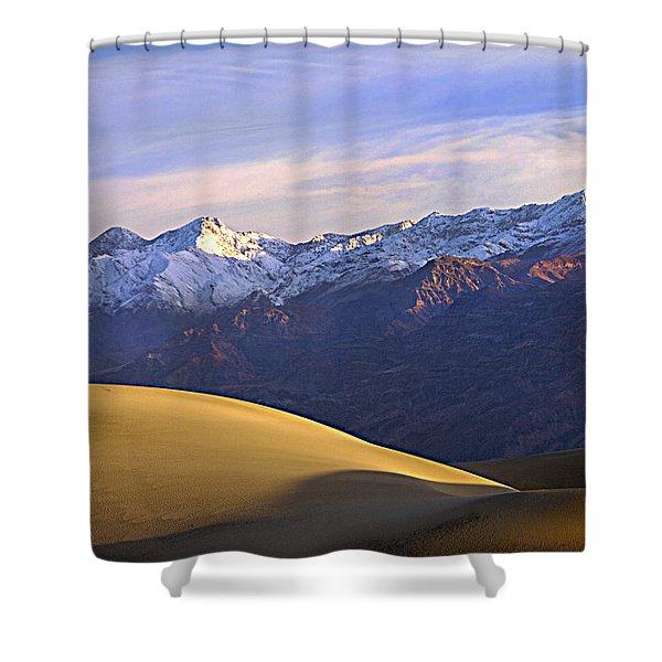 Snow On The Grapevine Range.  Shower Curtain