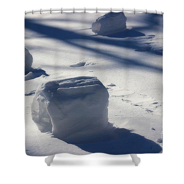 Snow Roller Trio In Shadows Shower Curtain