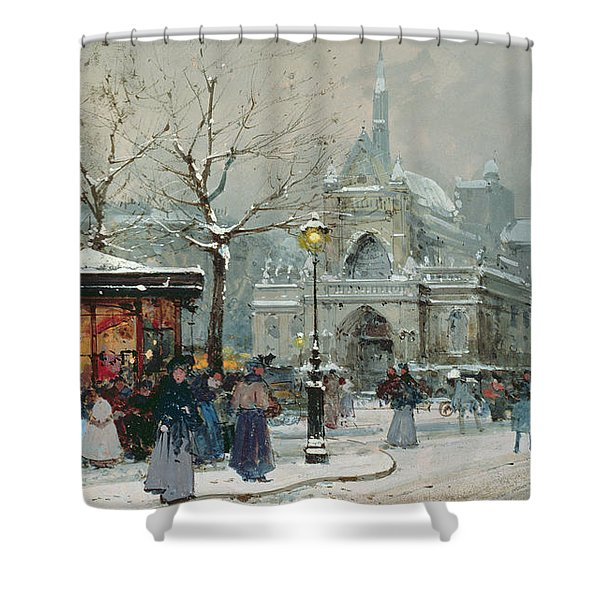 Snow Scene In Paris Shower Curtain