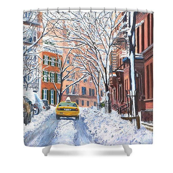 Snow West Village New York City Shower Curtain