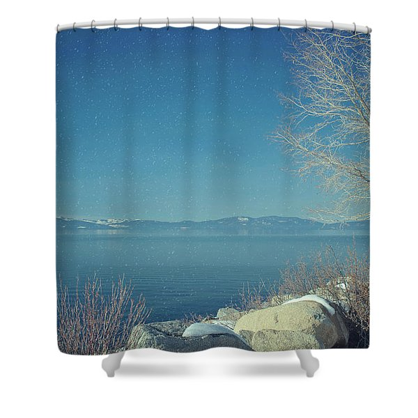 Snowing In Tahoe Shower Curtain