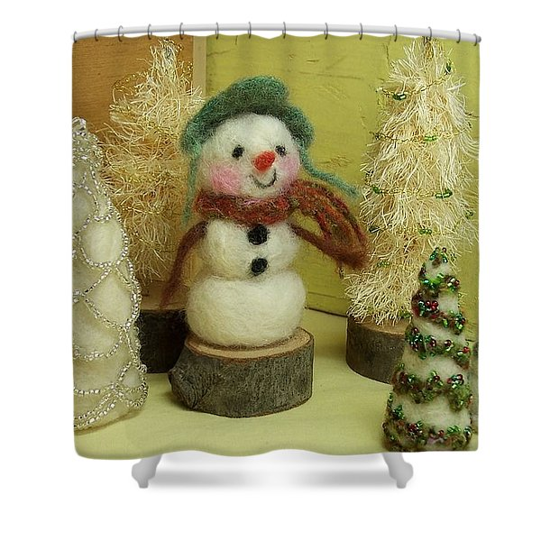 Snowman And Trees Holiday Shower Curtain