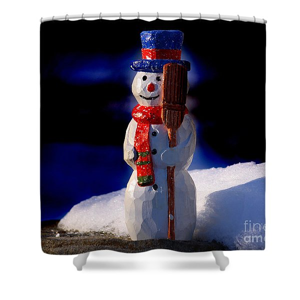 Snowman By George Wood Shower Curtain
