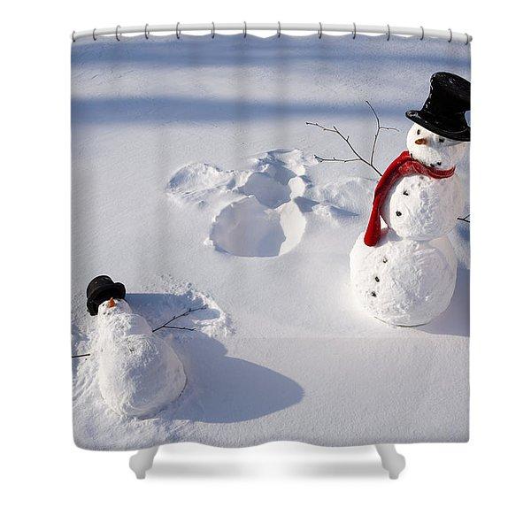 Snowmen In Forest Making Snow Angel Shower Curtain