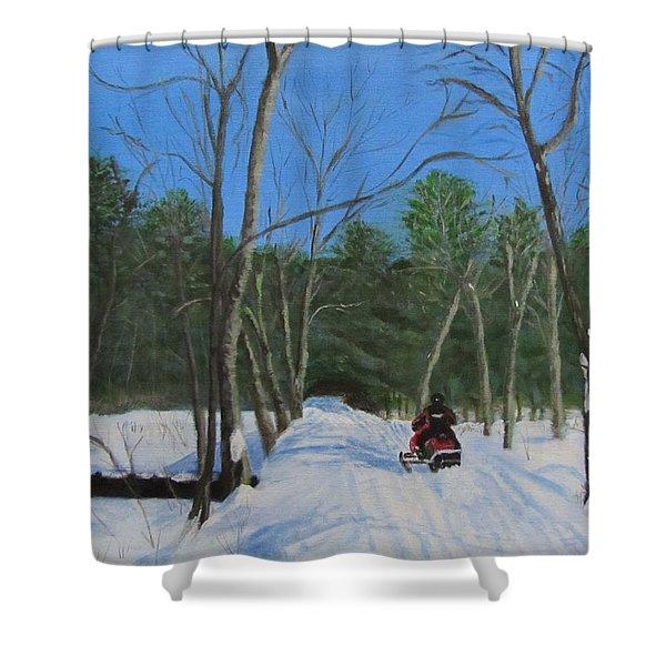 Snowmobile On Trail Shower Curtain