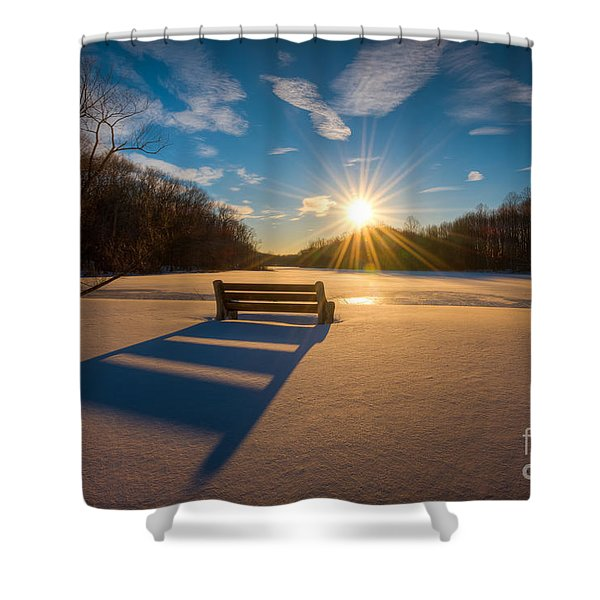 Snowy Bench Shower Curtain