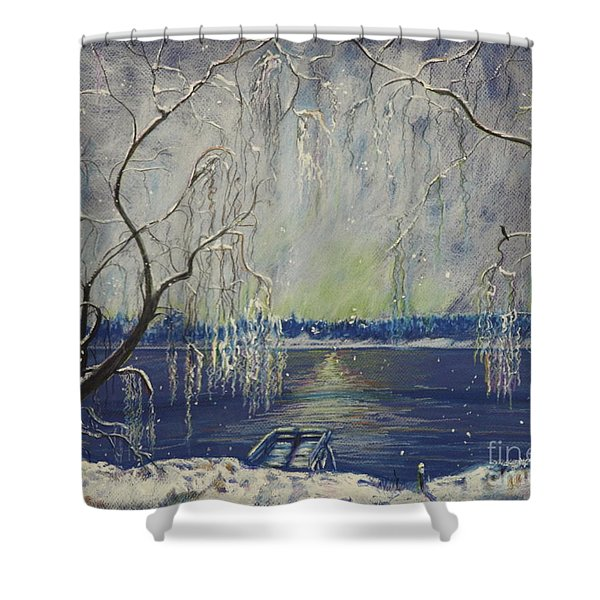 Snowy Day At The Lake Shower Curtain