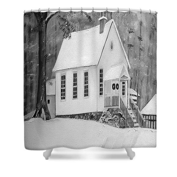 Snowy Gates Chapel -white Church - Portrait View Shower Curtain