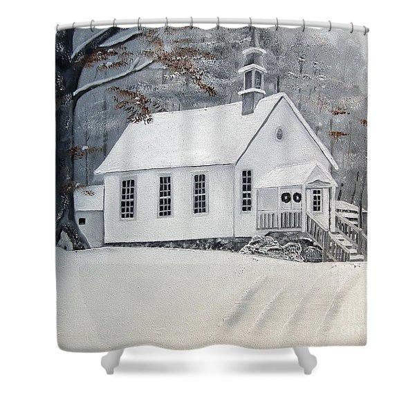 Snowy Gates Chapel  -little White Church - Ellijay Shower Curtain