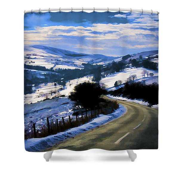 Snowy Scene And Rural Road Shower Curtain