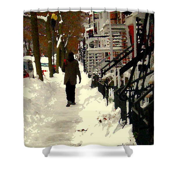 Snowy Staircases Montreal Winter City Scene Streets Of Verdun Colors Of Quebec Carole Spandau Shower Curtain