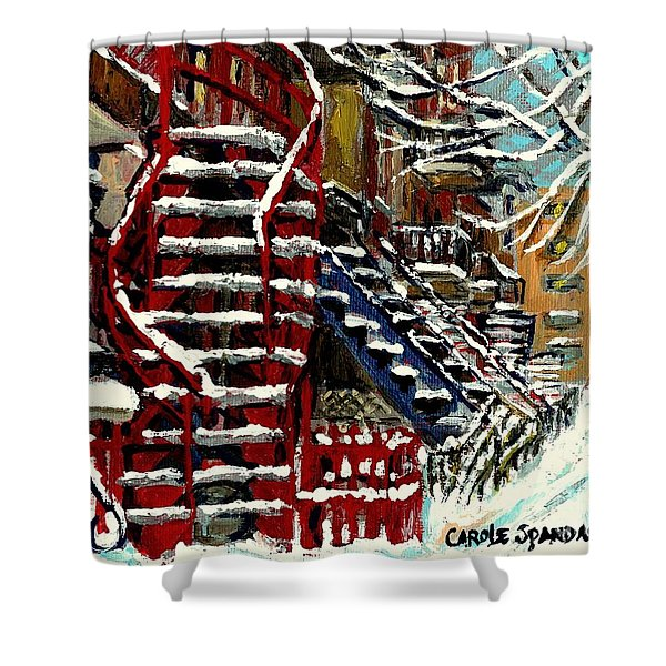 Snowy Steps The Red Staircase In Winter In Verdun Montreal Paintings City Scene Art Carole Spandau Shower Curtain
