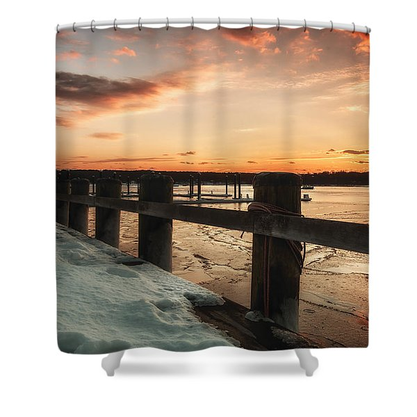 Snowy Sunset In Northport New York Shower Curtain