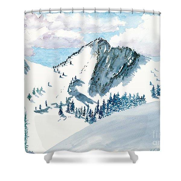 Snowy Wasatch Peak Shower Curtain