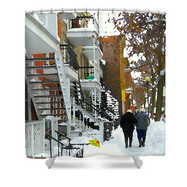Snowy Winter Walk Verdun Streets In December Montreal Winding Staircase Scenes Carole Spandau Shower Curtain