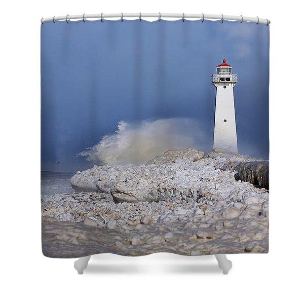 Sodus Bay Lighthouse Shower Curtain