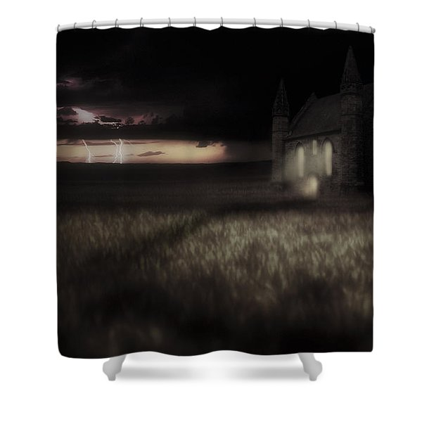 Something Wicked - Lightning - Chapel - Gothic Shower Curtain