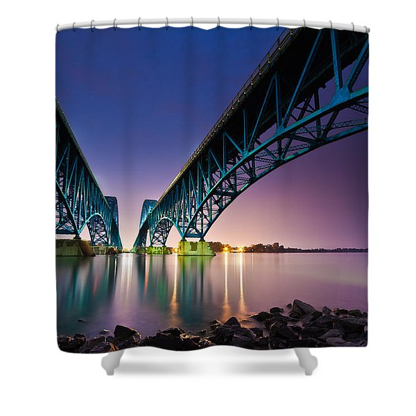 South Grand Island Bridge Shower Curtain
