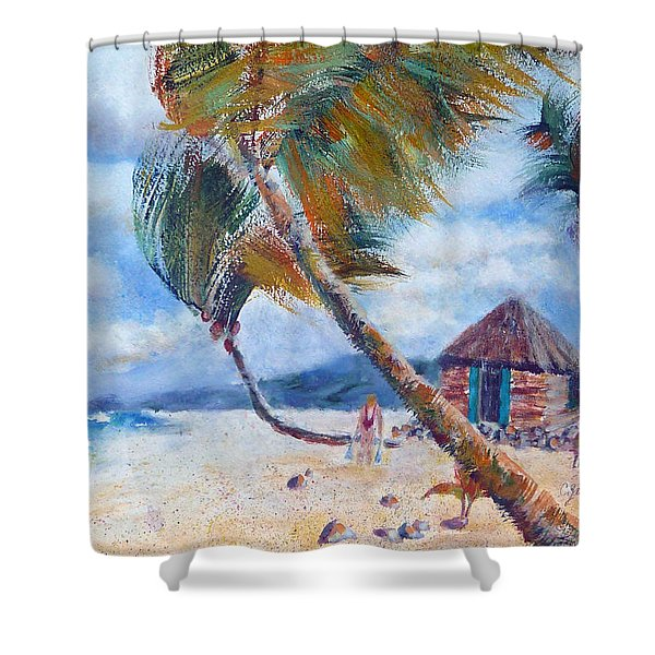 South Pacific Hut Shower Curtain