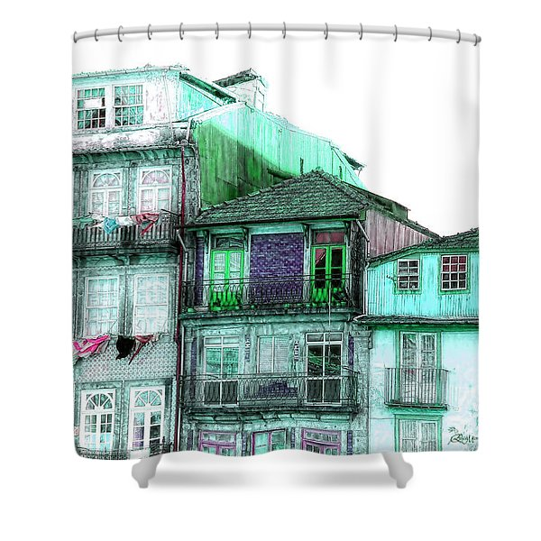 South Side Of Town-featured In Old Buildings And Ruins Group Shower Curtain
