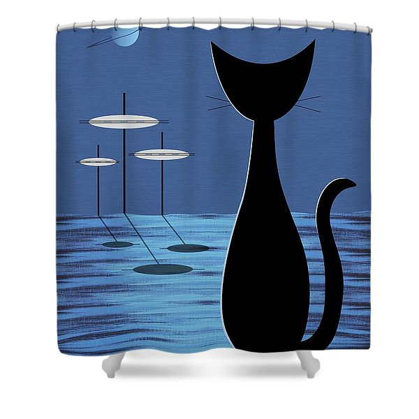 Space Cat In Blue Shower Curtain