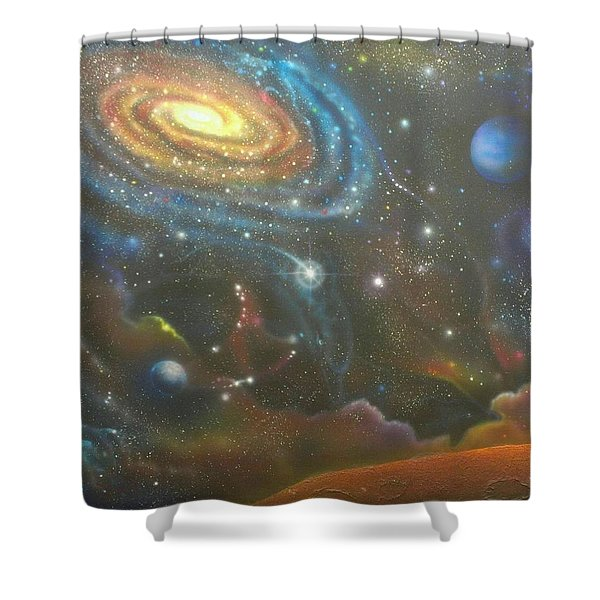 Space Dolphins Shower Curtain