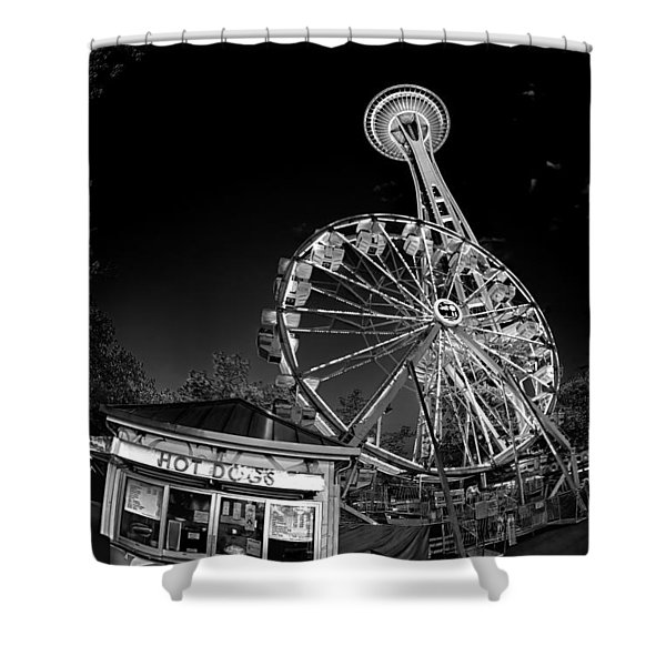 Space Needle Fights The End Of The World Shower Curtain